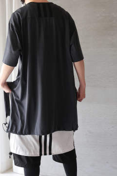 U DRAWSTRING LONG SS TEE(DARK GREY)