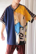 【ラスト1点】BASEBALL SHIRT(BLUE MIXED PRINTED)