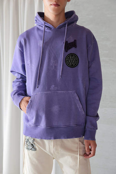 HOODIE DISTRESSED WITH PATCH(PURPLE)