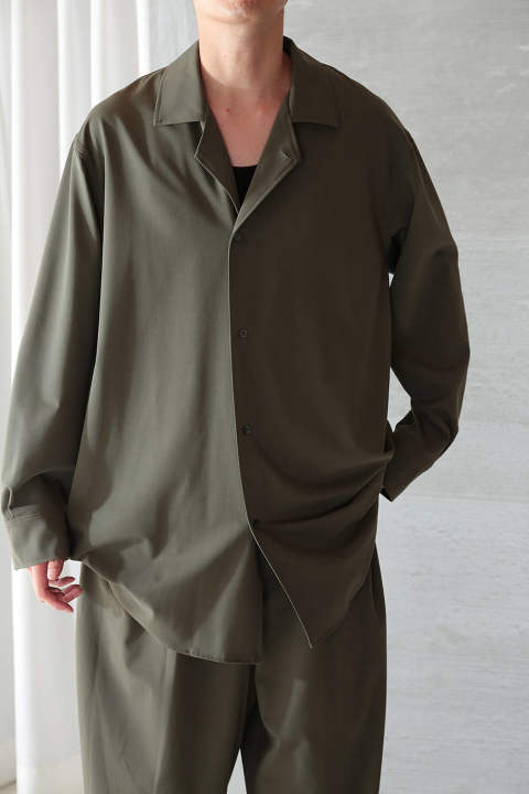 OPEN COLLAR SHIRT(SAGE GREEN)