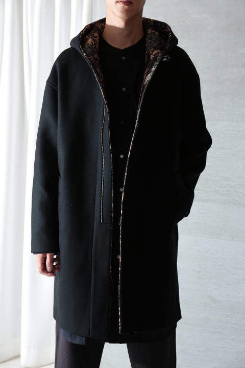 【ラスト1点】HOOD COAT(BLACK WITH FLORAL JACQUARD)