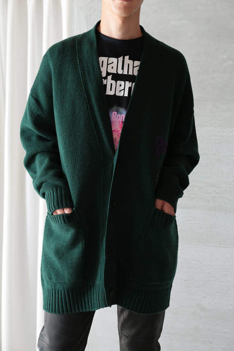 OVERSIZE CARDIGAN WITH PATCHES (GREEN)