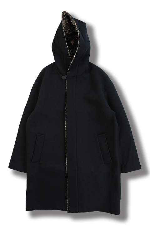 HOOD COAT(BLACK WITH FLORAL JACQUARD)