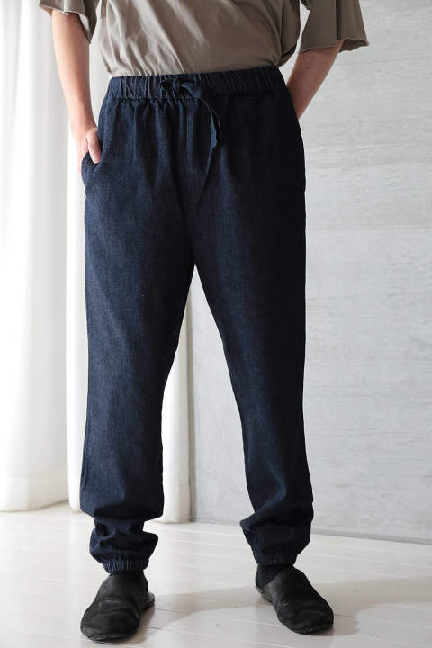 ORGANIC COTTON INDIGO DENIM GATHERED PANTS(INDIGO)