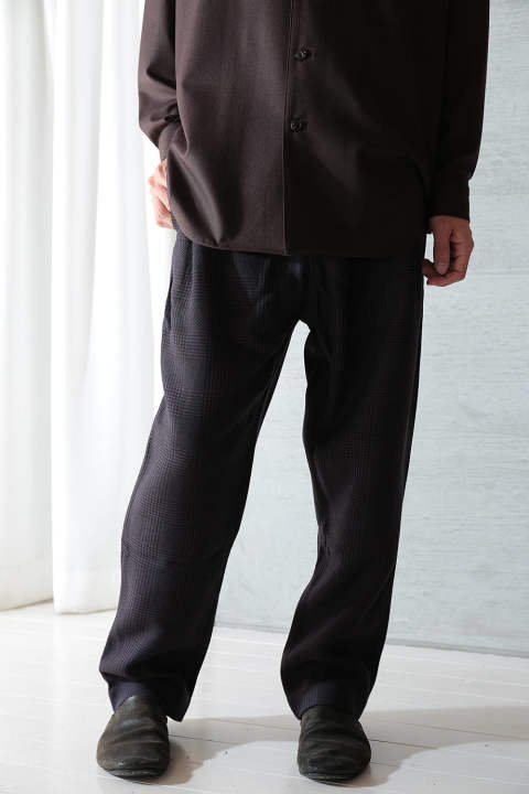 【ラスト1点】IN OUT TROUSER(DARK BROWN BLUE HERRINGBONE)