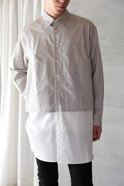 LONG LAYERED SHIRTS(LIGHT GRAY×WHITE)