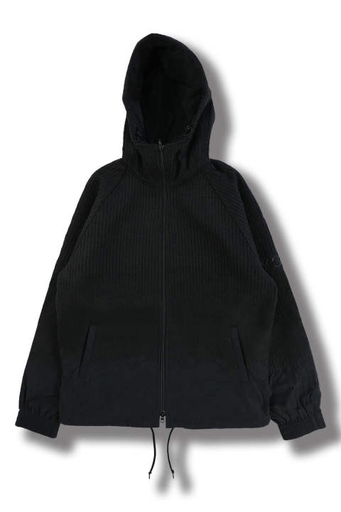 M PUNCHED KNIT-NYLON HOODED JACKET(BLACK/BLACK)