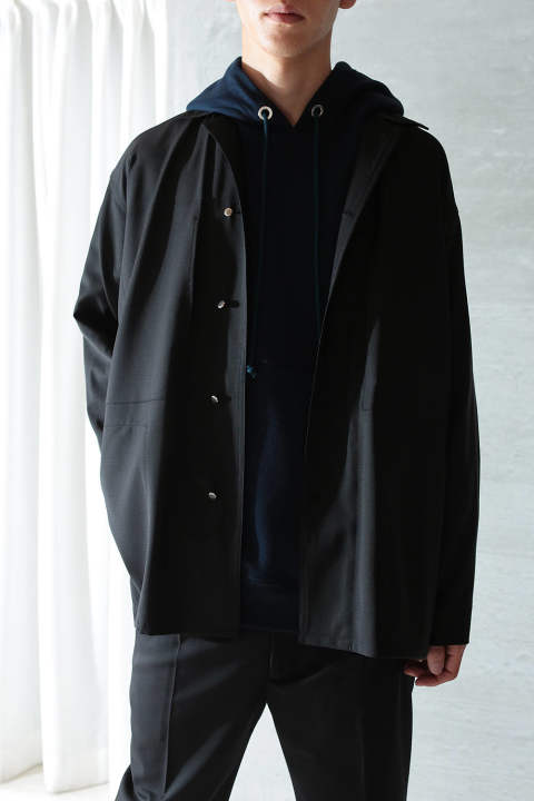 WOOL SHIRTS JACKET(BLACK)