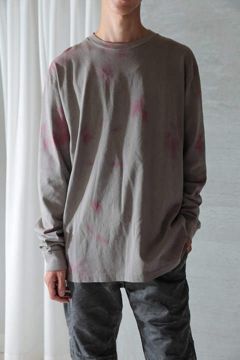 DOUBLE DYE LS UNIVERSITY TEE(GREY×PINK)