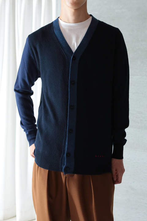 WOOL CARDIGAN(NAVY×BLACK)
