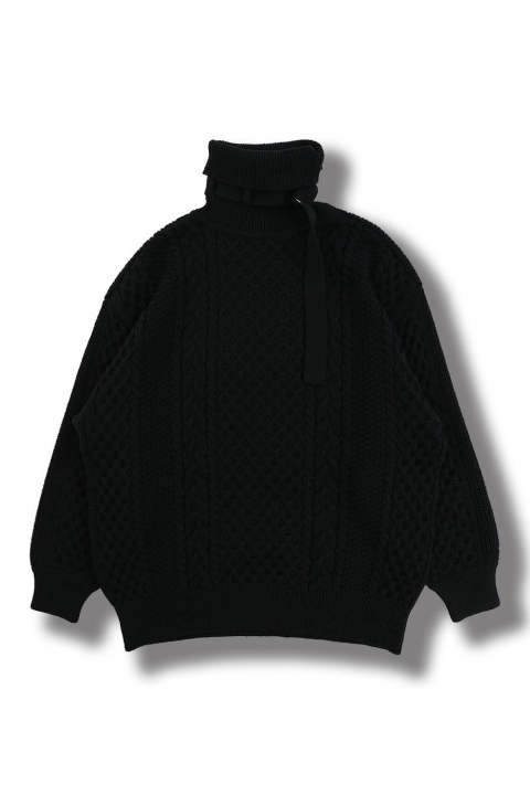 2WAY TURTLE BELT KNIT(BLACK)
