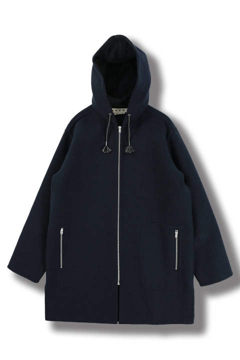WOOL HOODED LONG COAT (BLUE NAVY)