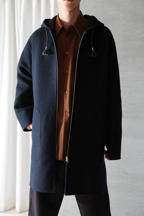 【ラスト1点】WOOL HOODED LONG COAT (BLUE NAVY)