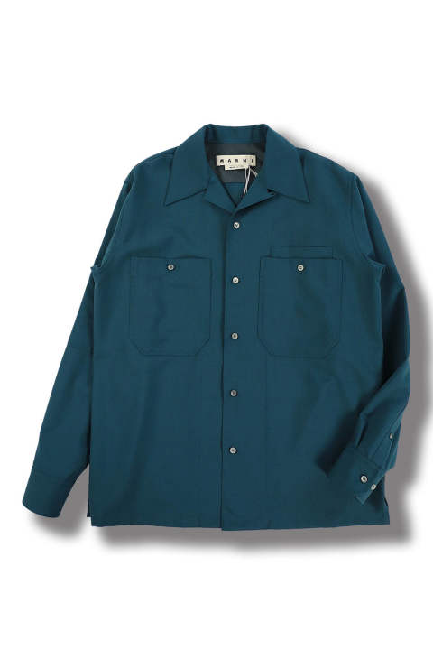 TROPICAL WOOL OPEN COLLAR SHIRT(PETROL)