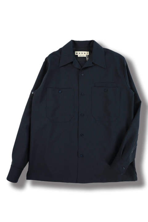 TROPICAL WOOL OPEN COLLAR SHIRT(NAVY)