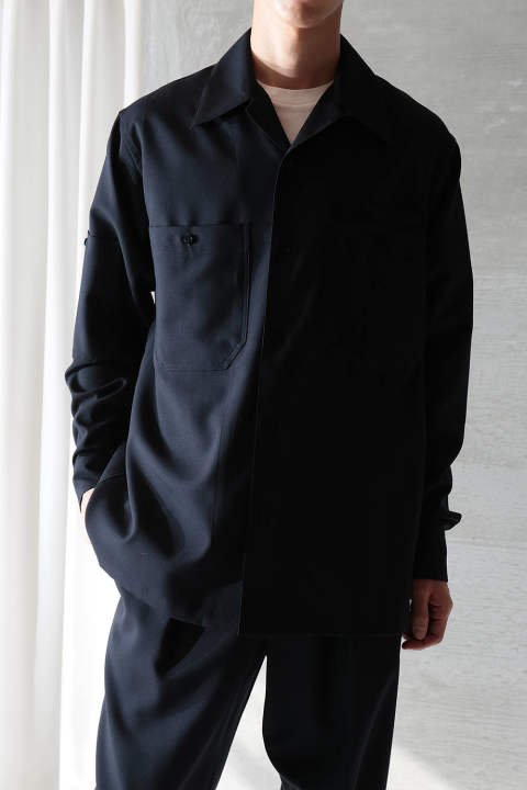 【ラスト1点】TROPICAL WOOL OPEN COLLAR SHIRT(NAVY)