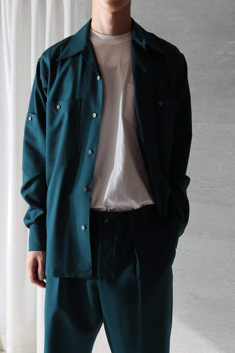 【ラスト1点】TROPICAL WOOL OPEN COLLAR SHIRT(PETROL)