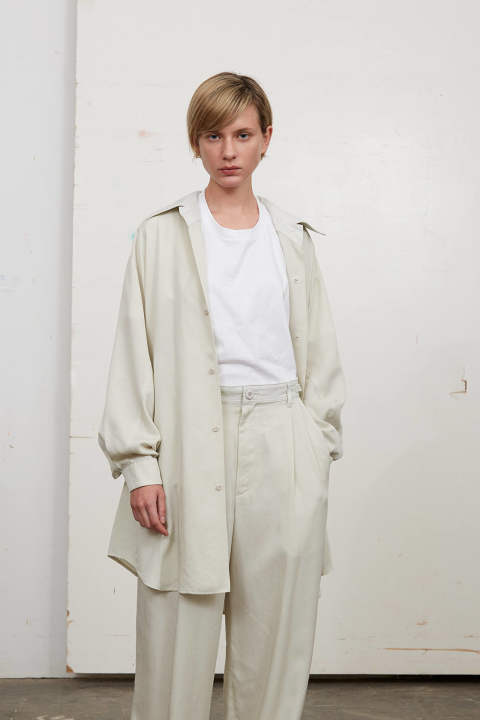 TENCEL GUSSET BIG SHIRTS(OFF WHITE)