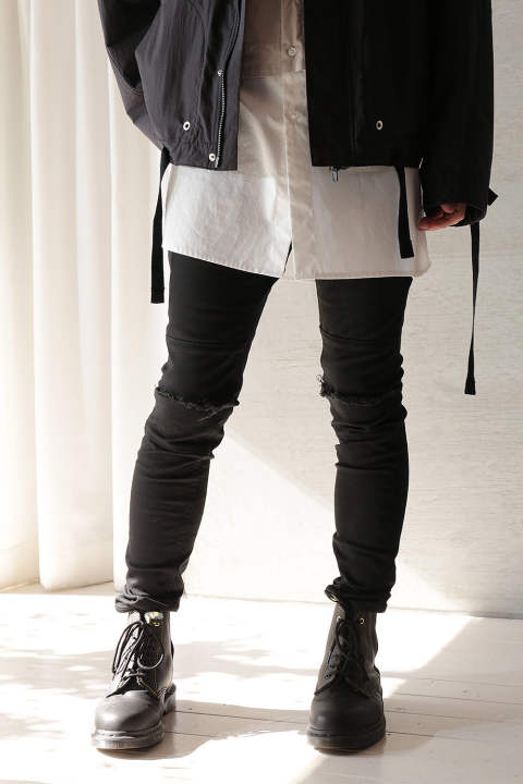 DAMAGE SKINNY PANTS(BLACK)