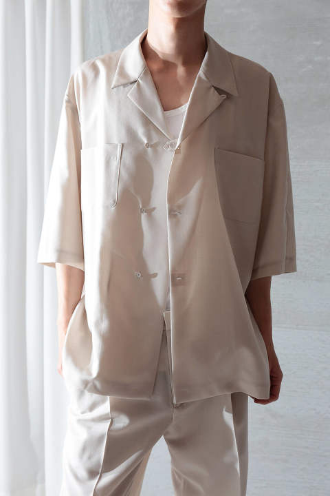 UN(I)FORM-OPEN COLLAR SEMI DOUBLE SHIRTS(BEIGE)