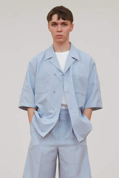 【3月上旬入荷予定/ラスト1点】UN(I)FORM-OPEN COLLAR SEMI DOUBLE SHIRTS(LIGHT BLUE)