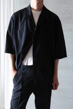 【3月上旬入荷予定/ラスト1点】UN(I)FORM-OPEN COLLAR SEMI DOUBLE SHIRTS(NAVY)