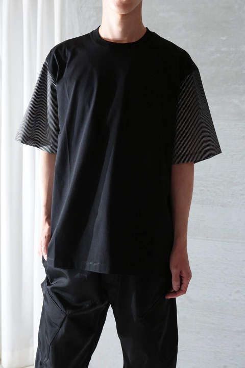 【ラスト1点】OVERSIZED COLOR BLOCK T-SHIRT W IKAT POPLIN(BLACK/BLACK IKAT)