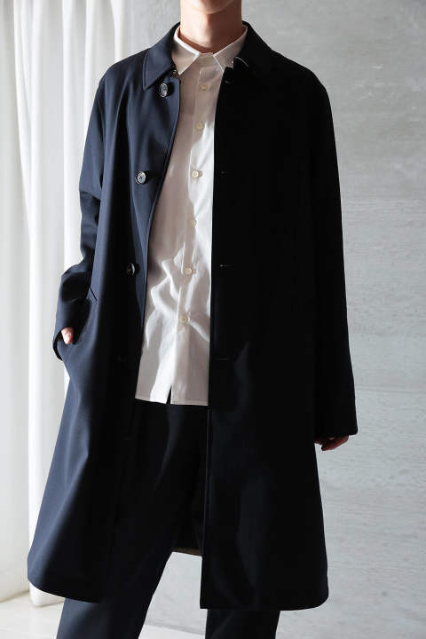 TROPICAL WOOL LONG COAT(NAVY)