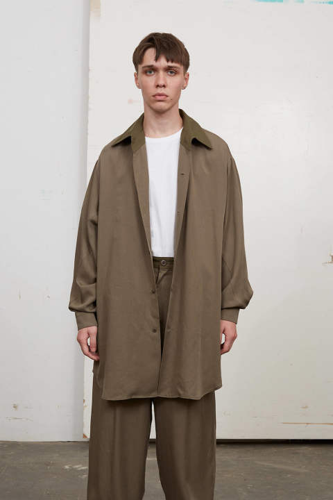 【ラスト1点】TENCEL GUSSET BIG SHIRTS(KHAKI)