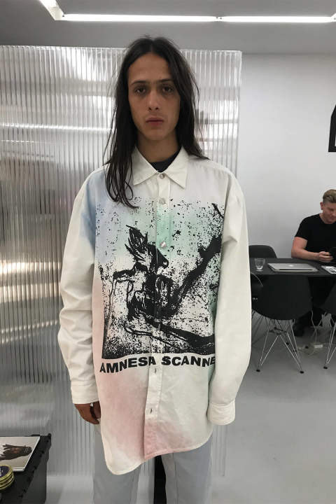 OVERSIZE SHIRT WITH AMNESIA SCANNER PRINT(WHITE)