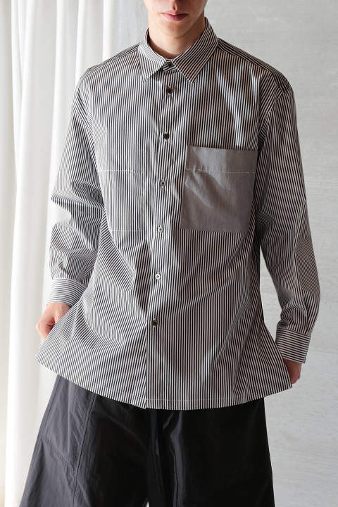 【ラスト1点】COMBINATION STRIPE SHIRT(BLACK)