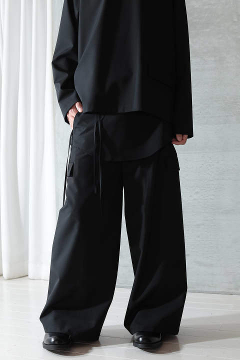 【ラスト1点】WIDE APRON PANTS(BLACK)